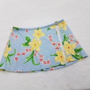 Tommy Hilfiger Skirt M Blue Yellow Floral Hawaiian